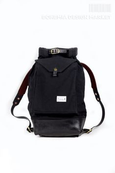 Promise Roll top backpack is hand sewn from solid impregnated canvas and leather. At first glance it may take closing Roll backpack, inspired by closing like a Bohemia Design, Top Backpacks, Rolling Backpack, Rucksack Backpack, Fashion Backpack, Leather, Stuff To Buy, Bags, Style