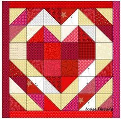 "Loose Threads: Heart Strings Table Mat Alternative  Cut 6 red squares 3 1/2"" Cut 2 background squares 3 1/2"" Make 28 half square triangles that measure 3 1/2"" (finish at 3 inches)  Your table mat (or wall hanging) will finish at 18 inches."