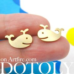 Happy Whale Animal Stud Earrings in Gold - ALLERGY FREE | dotoly - Jewelry on ArtFire