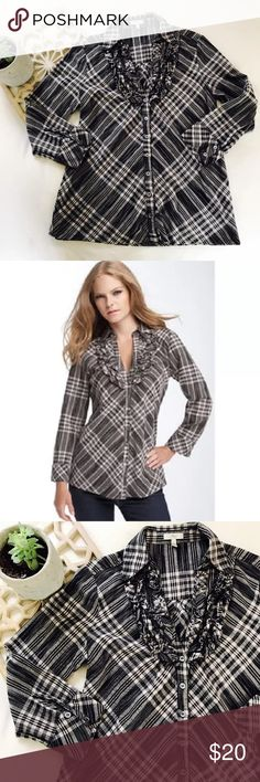 """Joie Fara Ruffle Shirt Lightweight yarn-died cotton plaid shirt is trimmed at the V-neck with soft ruffles.  Color(s): ashes w/ caviar.  Brand: Joie.  Style Name: Joie 'Fara' Plaid Tuxedo Shirt Gently pre-owned and ready to wear Size Small Measures approx 19"""" across the bust and 26"""" long Joie Tops Blouses"""