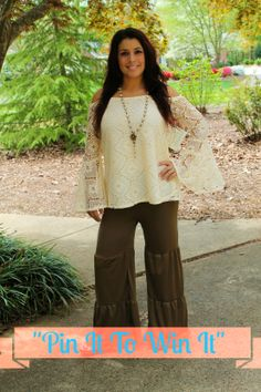 """Pin It, To Win It!"""" Missy Robertson Sweet Magnolia Top in Cream!! Simply Pin this photo on one of your boards and comment with your size in order to Win It!! All contestants must be registered as a customer on our website.  To Order Follow the Link Below: https://www.southernfriedchics.com/sweet_magnolia_top_in_cream_p/1818-mr004t1-cream.htm"""
