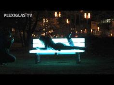 Brightly lit park benches made of #PLEXIGLAS® at the 6th Frankfurt #Luminale 2012
