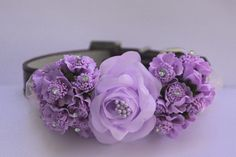 Lavender purple wedding dog collar, ight purple flowers , cute floral dog collar, unique dog collar for your wedding
