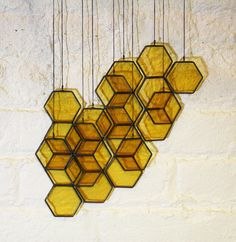 Stained Glass Honeycomb Drops set of 10