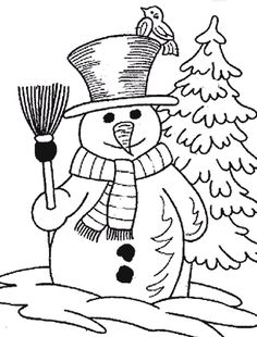 Winter Snowman Coloring Pages | Printable Christmas coloring pages ...