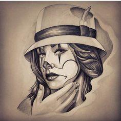 Image may contain: 1 person Chicano Drawings, Dark Art Drawings, Pencil Art Drawings, Tattoo Drawings, Arte Cholo, Cholo Art, Chicano Love, Skull Girl Tattoo, Clown Tattoo