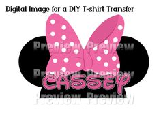 Printable DIY Iron On T-shirt Transfer or Magnet - DIY Disney Shirt - Minnie Hat Shirt Transfer - Minnie Hat Clip Art by FrostedMouseMemories on Etsy