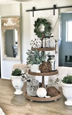 Tiered Tray Decor Ideas: Farmhouse Style I am still in love with Farmhouse Decor and plan to decorate the majority of my house in that fashion. One item that I can style farmhouse is my Tiered Tray and then restyle again and again Cotton … Farmhouse Christmas Decor, Country Farmhouse Decor, Country Interior, Modern Farmhouse, Farmhouse Ideas, Farmhouse Style Decorating, Country Kitchen, Farmhouse Design, Decoration Shabby
