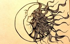 Sun kissing the moon t - I think I found my new tattoo! just make her hair rainbow colors, and dark night sky around the moon... ohh love it.