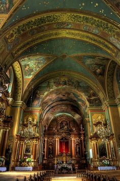 Church of St. Casimir's, Krakow, Poland.I was baptized in St. Casimir's Catholic Church in Ohio. Church Architecture, Beautiful Architecture, Beautiful Buildings, Beautiful Places, Places Around The World, Around The Worlds, World Youth Day, Old Churches, Catholic Churches