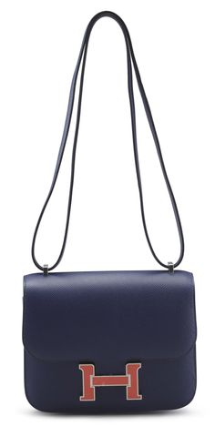 fake kelly - An 18cm bleu glacier epsom leather constance bag | Leather ...