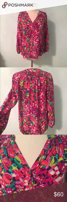 Lilly Pulitzer Elsa top Lilly Pulitzer Elsa top in excellent used condition. Size XS. Worn 2 times. 100% silk. Recently dry cleaned, but removed cleaning tag to take pictures. Top looks great with navy, white or jeans:) Lilly Pulitzer Tops Blouses
