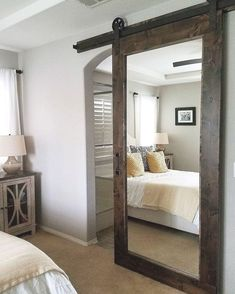 """Barn Doors & More, Inc. on Instagram: """"This is our Knotty Alder Mirror Barn Door with our Traditional Hardware for a master bedroom/bathroom Bedroom Barn Door, Barn Door Closet, Master Bedroom Bathroom, Home Bedroom, Bedroom Furniture, Barn Door On Bathroom, Closet Bed, Farm Bedroom, Small Master Bedroom"""