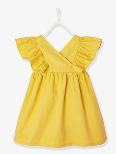 abb6c26e8cc Robe fille manches à volants jaune - Les beaux jours et les fêtes pétillent  de couleurs