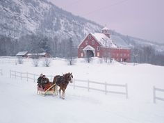 O'er the fields we go in a one horse open sleigh...with a beautiful barn in the background. ||Winter Snow Pictures