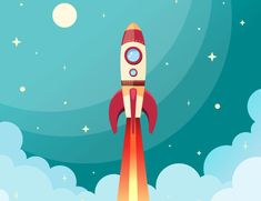 Buy Space Rocket Print by macrovector on GraphicRiver. Space rocket flying in space with moon and stars on background print vector illustration. Editable EPS and Render in . Vector Design, Web Design, Vector Art, Prop Design, Vector Illustrations, Flat Design, The Beast, Wallpaper Rose, Art Projects