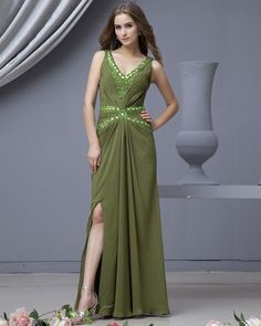 Sweetheart  Sheath V-Neck Sleeveless Floor Length Satin Prom Dresses