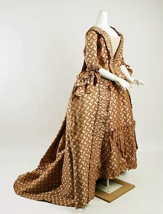 http://www.metmuseum.org/: Dress (Robe à la Française)  Date: 1770s Culture: European Medium: silk Dimensions: Length at CB (a): 68 3/8 in. (173.7 cm) Length at CB (b): 37 1/2 in. (95.3 cm) Credit Line: Purchase, Irene Lewisohn Bequest, 1985 Accession Number: 1985.167a, b