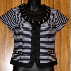 Woman's White House Black Market Striped Black & White Short Sleeve Jacket Sz 0