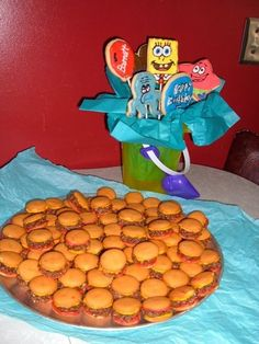 I served these krabby patties with spongebob character cookies.