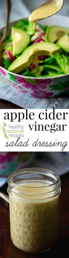 apple cider vinegar salad dressing get my FREE weeknight meals e-book! A simple 5 minute recipe for salad dressing u Apple Cider Vinegar Salad Dressing Recipe, Salad Dressing Recipes, Salad Recipes, Salad Dressings, Salad Vinegar, Vinegar Dressing, Healthy Salads, Healthy Recipes, Whole Food Recipes