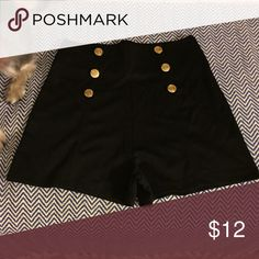 High wasted black shorts Nicki Minaj brand, size: XS. A bigger booty could hang out the back but very cute with a crop top for a night out. Has gold buttons Shorts