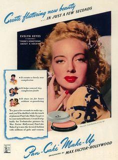Evelyn Keyes vintage Max Factor ad - 1940s make up