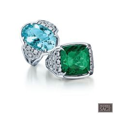 #fredericsage Fine Aquamarine and Green Tourmaline Rings, part of the One and Only Collection