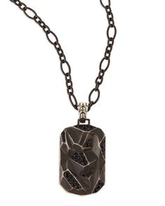 N2JYB John Hardy Men's Classic Chain Lava Dog Tag Chain Necklace, Silver http://www.thesterlingsilver.com/product/baldessarini-sterling-silver-pvd-graphite-ring-70cm-mens-necklace/