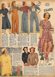 Fabulous warm weather fashions from the Sears Spring-Summer catalog, 1938. #vintage #1930s #fashion