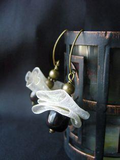 Cream Sheer Ribbon and Black Beaded Dangle by avadeldesigns, $12.00