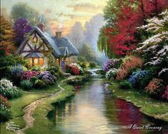 """""""A Quite Evening"""" - by Thomas Kincade.  This is my favorite painting. -- You will be missed!"""