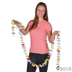 Bright Flower Lei Garland. Add a tropical island atmosphere to any beach party or summer event with this beautiful polyester garland! It's easy to create ...