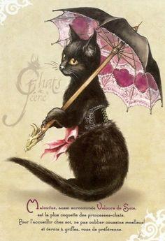 Chatte noire ombrelle cœurs roses. Carte postale Matouvue de Séverine Pineaux - Chats de Féerie