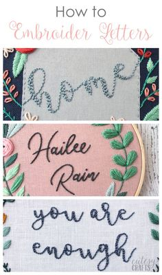 Vintage Embroidery Designs How to Embroider Letters by Hand - Step-by-Step video tutorials and free patterns! - Learn how to embroider letters with my easy tutorial. I'll show you two of my favorite ways to embroider script fonts for two beautiful looks! Embroidery Stitches Tutorial, Hand Embroidery Designs, Embroidery Techniques, Embroidery Ideas, Knitting Stitches, Simple Embroidery, Christmas Embroidery Patterns, Vintage Embroidery Patterns, Hand Embroidery Projects
