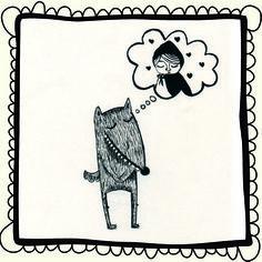 Lobico enamorao. Ilustración hecha con tinta china. Amor por Caperucita Roja