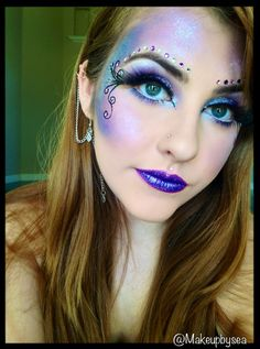 probably gonna do this make up for halloween this year for my fairy costume :) Butterfly Makeup, Butterfly Costume, Purple Fairy Makeup, Fairy Fantasy Makeup, Fantasy Hair, Makeup Art, Beauty Makeup, Eye Makeup, Makeup Ideas