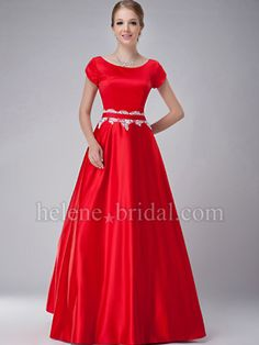 A-Line Jewel Long / Floor-Length Satin Mother of The Bride Dress - MD2511 - US$ 149.99