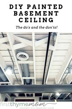 DIY Painted Basement Ceiling Project — First Thyme Mom : DIY Exposed Painted Basement Ceiling. Tips for how to paint a basement ceiling. This will brighten up your room! Basement Gym, Basement Bedrooms, Basement Flooring, Basement Renovations, Basement Bathroom, Home Remodeling, Basement Furniture, Basement Plans, Basement Makeover
