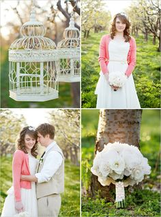 Sweater cardigan over wedding dress. This is pink, but you could substitute in any color of your theme.