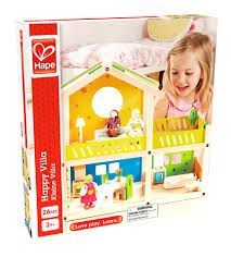 Hape Happy Villa Kid's Wooden Doll House Set with Accessories Villa, Wooden Dollhouse, Wooden Toys, Toy Chest, Storage Chest, Toddler Bed, Play, Learning, Happy