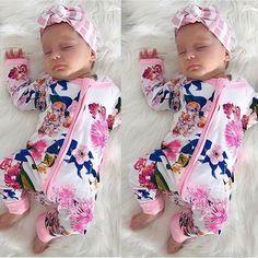 9.64AUD - Newborn Baby Girl Kids Zipped Romper Jumpsuit Bodysuit Cotton Clothes Outfit Jj #ebay #Fashion #babystuffnewborn