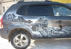 cool airbrushed cars | car, airbrush, SUV, painting, offroad, leopard, face | Inspirational ...