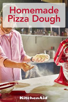 When life gives you flour, make homemade pizza dough. It's a fun and delicious activity to make at home. Share your homemade pizza with Gouda, Pizza Recipes, Baking Recipes, Tofu Recipes, Juice Recipes, Salmon Recipes, Cooker Recipes, Keto Recipes, Kitchen Aid Recipes
