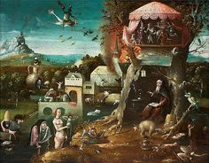 School of Jheronimus Bosch, mid 16th century, The Temptations of Saint Anthony.Oil on panel, 28 x 38 cm. Courtesy Galerie Florence de Voldère