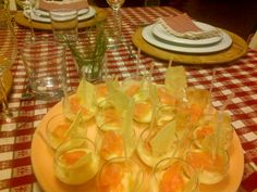 finger food appetizers with potato cream,salmon and carasau bread