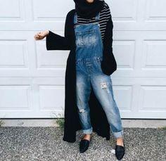 How To Wear Denim Overalls Casual 54 Ideas Muslim Fashion, Modest Fashion, Women's Fashion Dresses, Hijab Fashion, Casual Hijab Outfit, Hijab Chic, Modest Wear, Modest Outfits, Denim Outfits