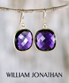 Amethyst faceted square shaped gemstone drop earrings Amethyst earrings Amethyst dangling earrings Purple earrings Statement earrings by William Jonathan