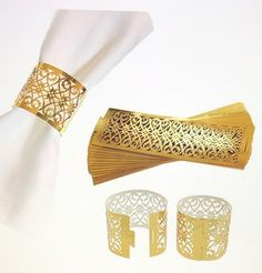 Party Napkins, Wedding Napkins, Wedding Napkin Rings, Wedding Invitations, Gold Napkin Rings, Luminaire Vintage, Laser Cut Paper, Gold Bridal Showers, Foil Paper