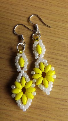 Yellow Super Duo Beaded Earrings  with 925 Stamped Hooks